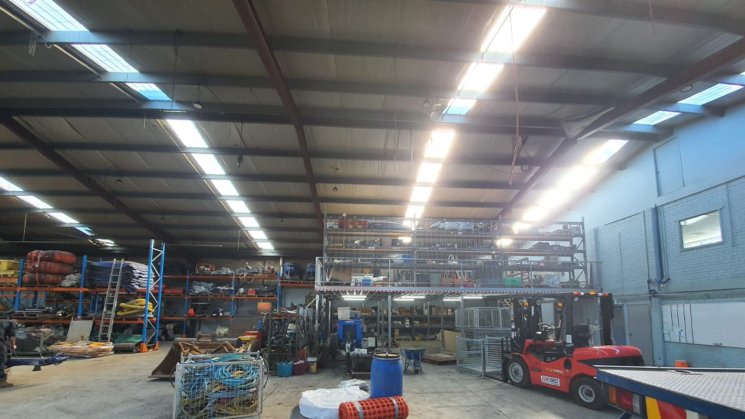 Light Beaming into Warehouse After New Skylight Panels were Installed
